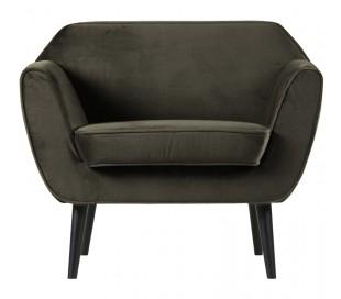Lænestol i velour B92 cm - Varm grøn