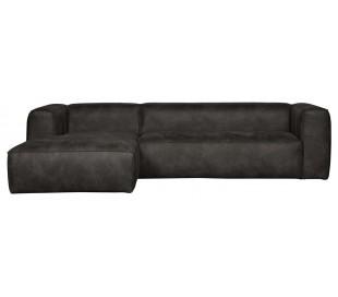 Moderne hjørnesofa i læder 305 x 175 cm - Vintage sort