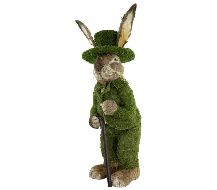 Image of   Dekorativ kanin i strå og kunstgræs H130 cm