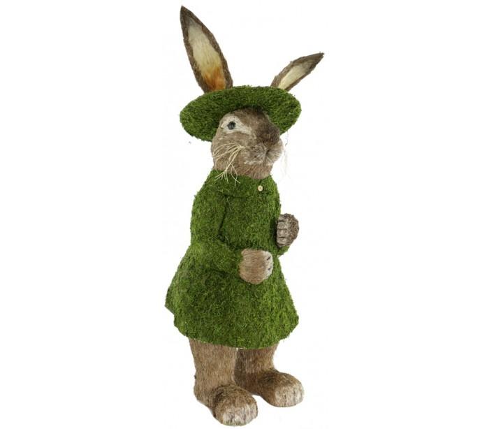 Image of   Dekorativ kanin i strå og kunstgræs H125 cm