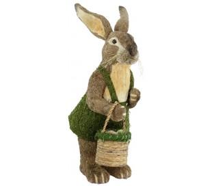 Dekorativ kanin i strå og kunstgræs H122 cm