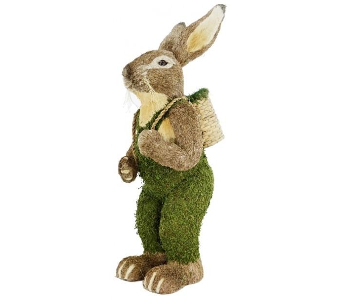 Image of   Dekorativ kanin i strå og kunstgræs H122 cm