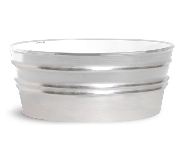 Tinozza håndvask i keramik 58,5 x 40 cm - sølv fra horganica på lepong.dk