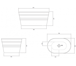 Tinozza håndvask i keramik 58,5 x 40 cm - Mat ler grå
