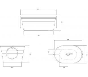 Tinozza håndvask i keramik 58,5 x 40 cm - Solgul