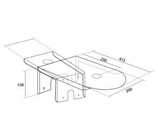 Bacile hylde til vægmontering af vask - Hvid