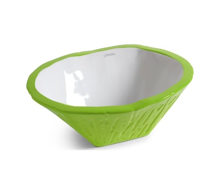 horganica Terra håndvask i keramik 54 x 46 cm - limegrøn på lepong.dk