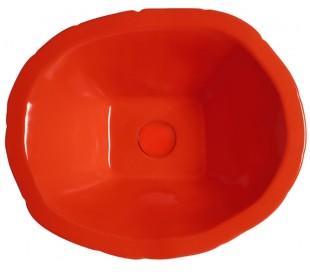 Terra håndvask i keramik 54 x 46 cm - Passionsrød