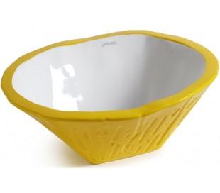 Terra håndvask i keramik 54 x 46 cm - Solgul