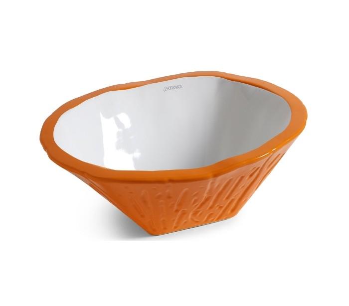 Terra håndvask i keramik 54 x 46 cm – Orange