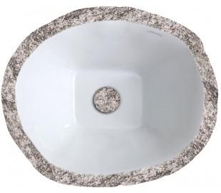 Terra håndvask i keramik 54 x 46 cm - Gråbrun marmor