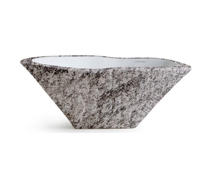 Terra håndvask i keramik 54 x 46 cm - gråbrun marmor fra horganica fra lepong.dk