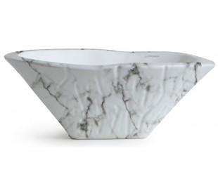 Terra håndvask i keramik 54 x 46 cm - Hvid marmor