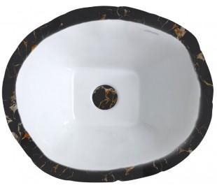 Terra håndvask i keramik 54 x 46 cm - Sort marmor