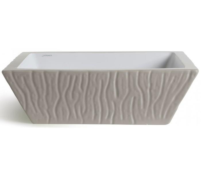 Image of   Pietra håndvask i keramik 59,5 x 39,5 cm - Mat ler grå