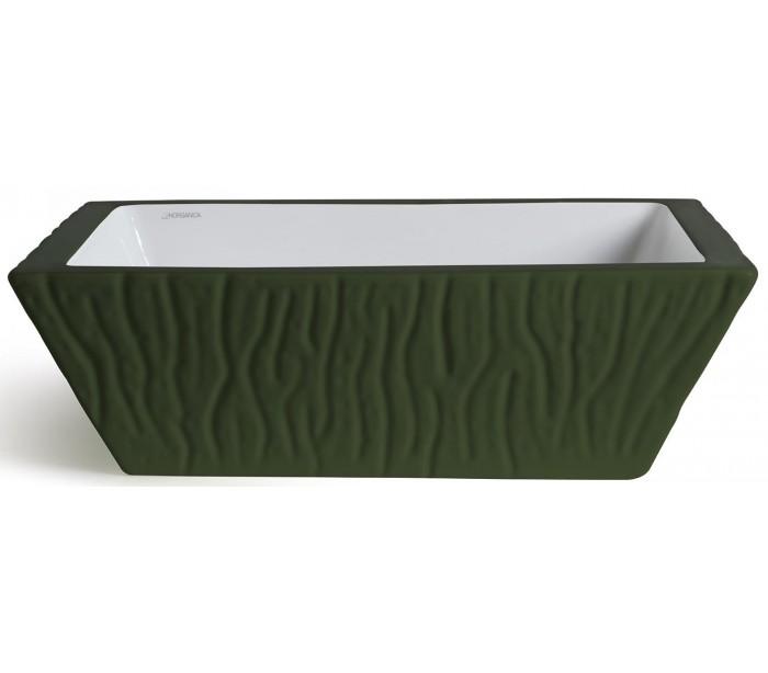 Pietra håndvask i keramik 59,5 x 39,5 cm - mat engelsk grøn fra horganica på lepong.dk
