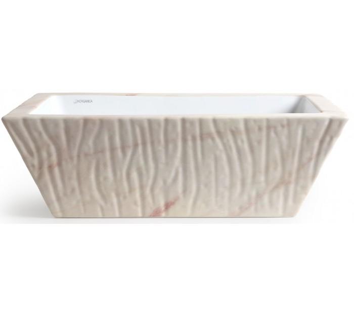 Image of   Pietra håndvask i keramik 59,5 x 39,5 cm - Rosa marmor