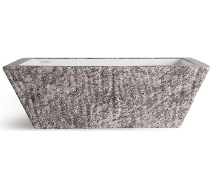 horganica Pietra håndvask i keramik 59,5 x 39,5 cm - gråbrun marmor på lepong.dk