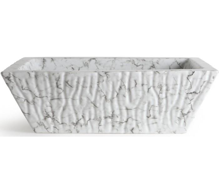 Image of   Pietra håndvask i keramik 59,5 x 39,5 cm - Hvid marmor