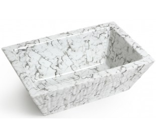 Pietra håndvask i keramik 59,5 x 39,5 cm - Hvid marmor