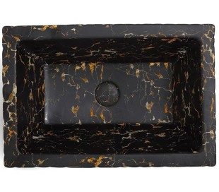 Pietra håndvask i keramik 59,5 x 39,5 cm - Sort marmor