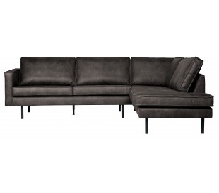 Hjørnesofa højrevendt i læder 266 x 213 cm - Vintage sort