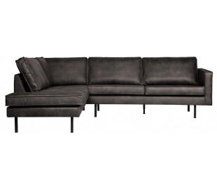 Hjørnesofa venstrevendt i læder 266 x 213 cm - Vintage sort