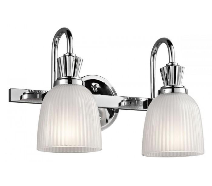 Image of   Cora Badeværelseslampe i stål og glas B40,6 cm 2 x G9 LED - Poleret krom/Hvid