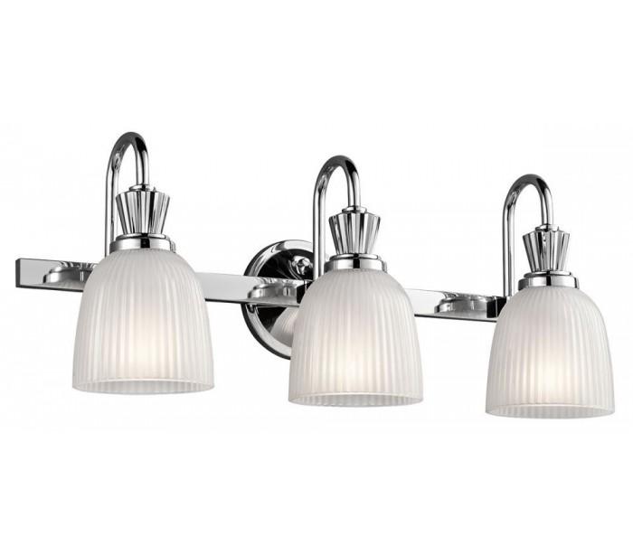 Image of   Cora Badeværelseslampe i stål og glas B61 cm 3 x G9 LED - Poleret krom/Hvid