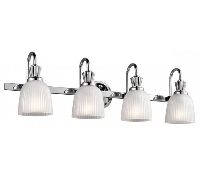 Image of   Cora Badeværelseslampe i stål og glas B82,7 cm 4 x G9 LED - Poleret krom/Hvid