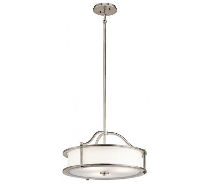 Emory Pendellampe i stål, glas og tekstil Ø45,7 cm 3 x E27 - Hvid/Tin