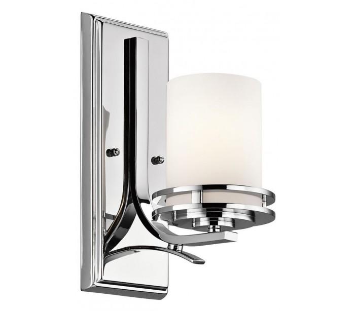 Image of   Hendrik Badeværelseslampe i stål og glas H30,6 cm 1 x G9 LED - Poleret krom/Hvid