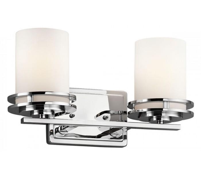 Image of   Hendrik Badeværelseslampe i stål og glas B36,7 cm 2 x G9 LED - Poleret krom/Hvid