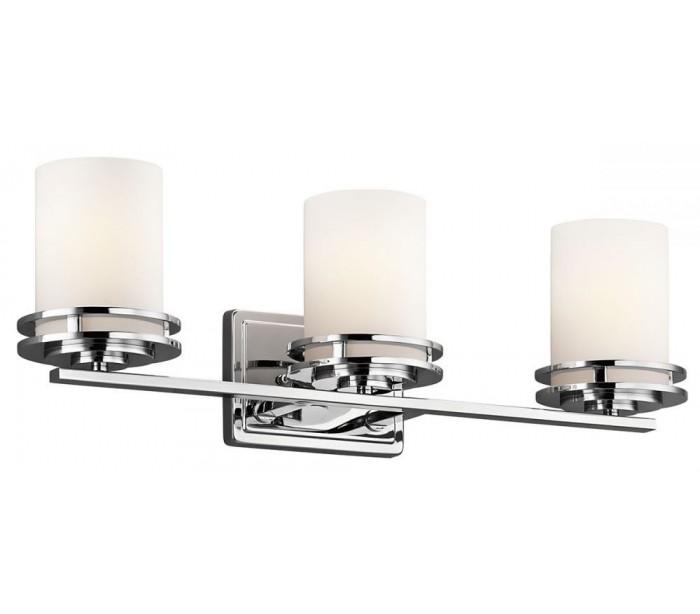Image of   Hendrik Badeværelseslampe i stål og glas B61 cm 3 x G9 LED - Poleret krom/Hvid