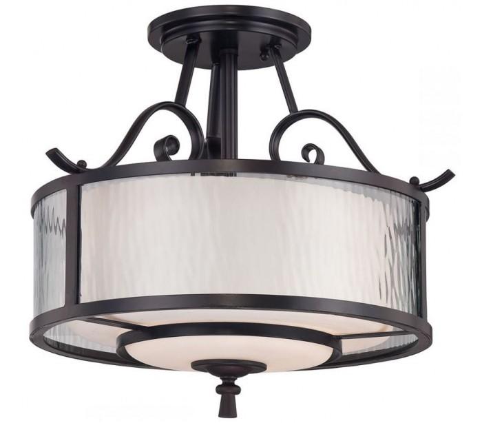 Adonis loftslampe ø38,1 cm 3 x e27 - mørkebrun/opal/klar fra quoizel lighting på lepong.dk