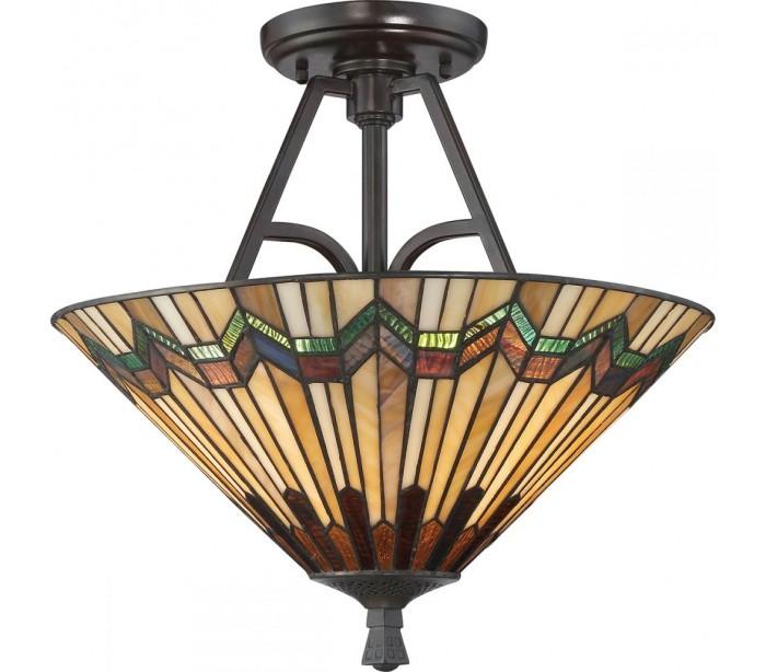 Image of   Alcott Tiffany Semi-Flush Plafond Ø40,6 cm 2 x E27 - Mørk bronze