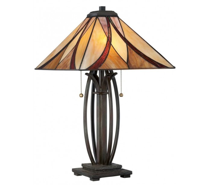 quoizel lighting – Asheville tiffany bordlampe h63,5 cm 2 x e27 - mørk bronze på lepong.dk
