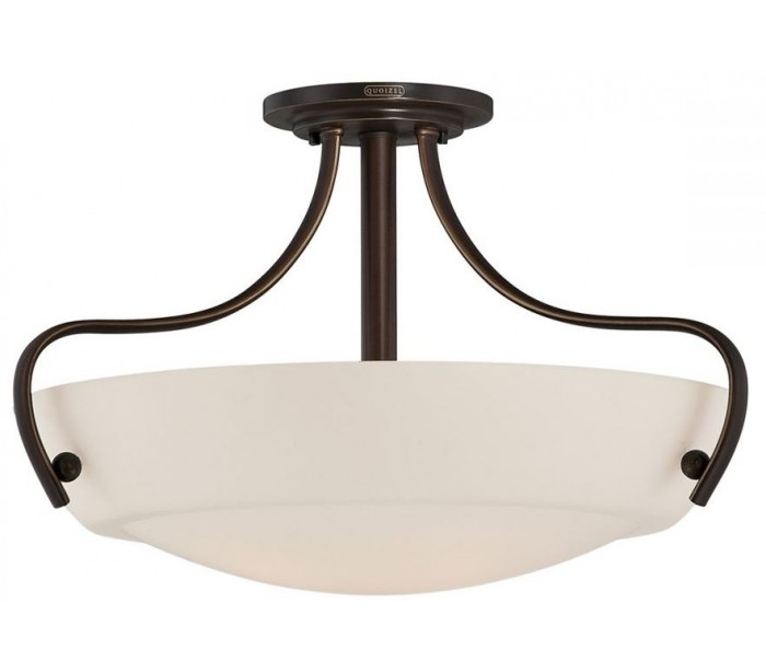 quoizel lighting – Chantilly semi-flush plafond ø45,7 cm 3 x e27 - bronze/satin på lepong.dk