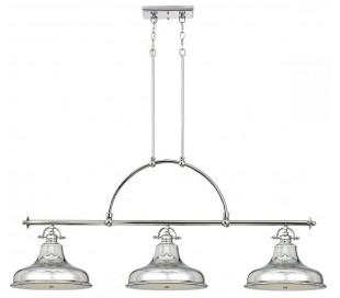Emery Pendellampe i metal og glas 133,4 x 33 cm 3 x E27 - Sølv