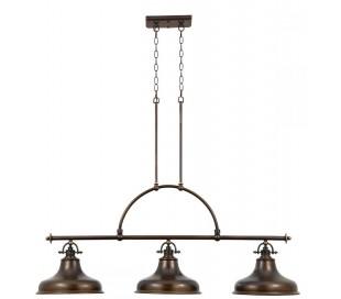 Emery Pendellampe i metal og glas 133,4 x 33 cm 3 x E27 - Aldret bronze