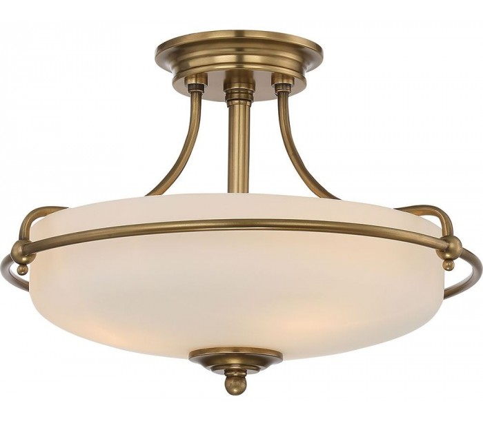 quoizel lighting – Griffin semi-flush plafond ø43,2 cm 3 x e27 - antik messing/satin på lepong.dk
