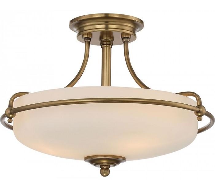Griffin Semi-Flush Plafond Ø43,2 cm 3 x E27 – Antik messing/Satin fra Quoizel Lighting