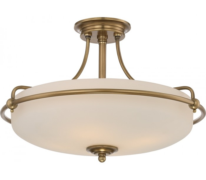 Image of   Griffin Semi-Flush Plafond Ø53,3 cm 4 x E27 - Antik messing/Satin