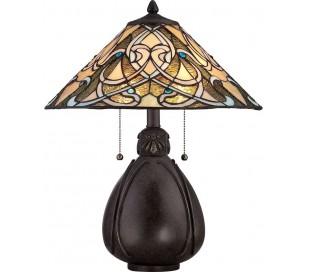 India Tiffany Bordlampe H49,5 cm 2 x E27 - Mørk bronze