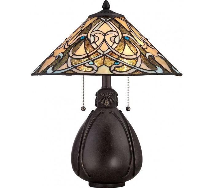 quoizel lighting India tiffany bordlampe h49,5 cm 2 x e27 - mørk bronze fra lepong.dk
