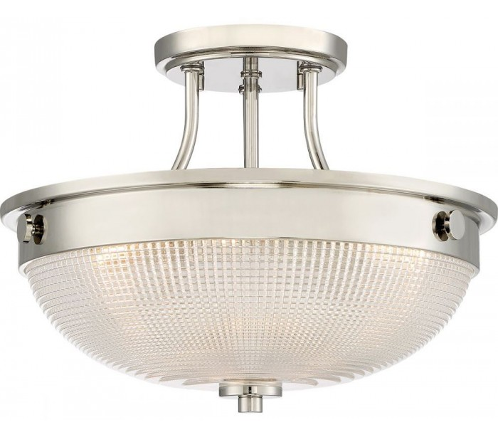 Image of   Mantle Semi-Flush Plafond Ø32,7 cm 2 x E27 - Poleret nikkel