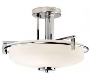 Taylor Badeværelseslampe i stål og glas Ø41,6 cm 3 x G9 LED - Poleret krom/Hvid