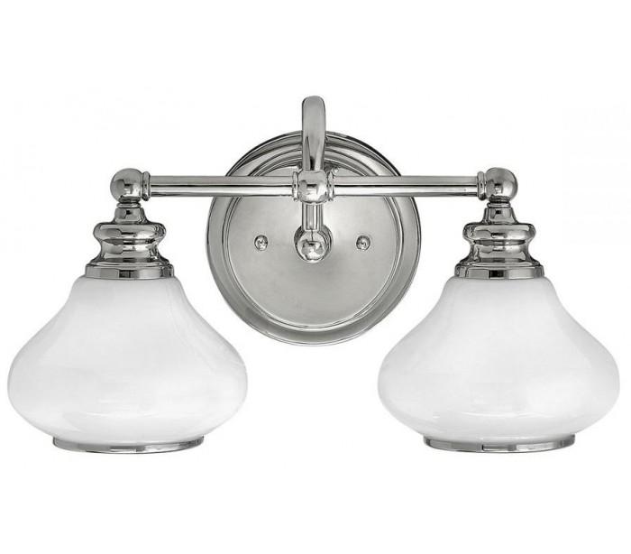 Image of   Ainsley Badeværelseslampe i stål og glas B40,6 cm 2 x G9 LED - Poleret krom/Hvid