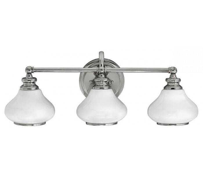 Image of   Ainsley Badeværelseslampe i stål og glas B61 cm 3 x G9 LED - Poleret krom/Hvid