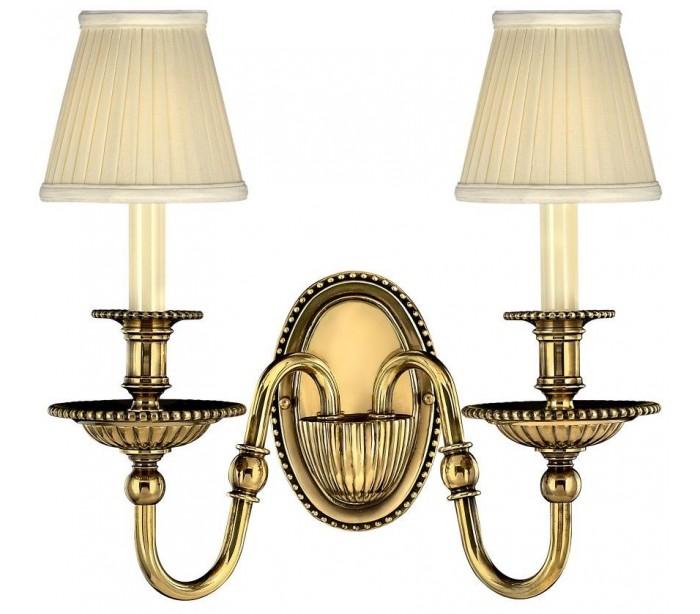 hinkley lighting – Cambridge væglampe b34,5 cm 2 x e14 - brændt messing/beige fra lepong.dk